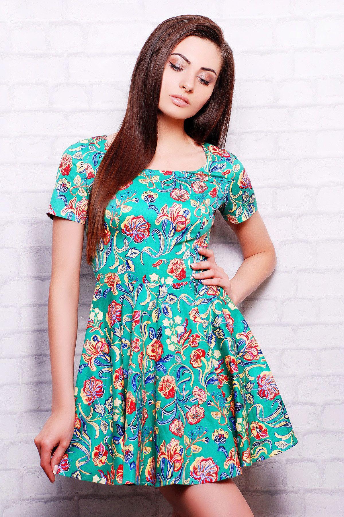 Платье зеленое с лилиями