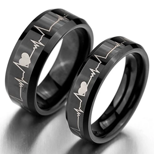 Mens Wide 8mm Tungsten Ring Band Black Heart Comfort Fit Couple Wedding Promise