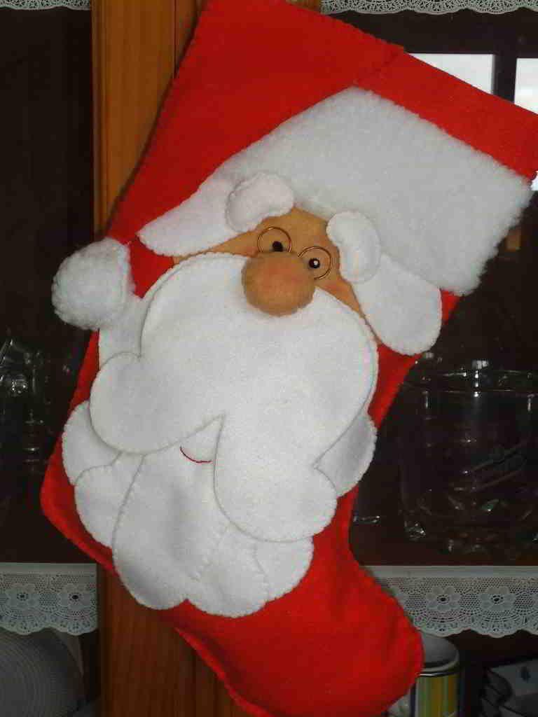 Bota Santa Patchwork - alternativo   Manualidades navideñas ...