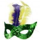 Mardi Gras Sequin Mask - Green