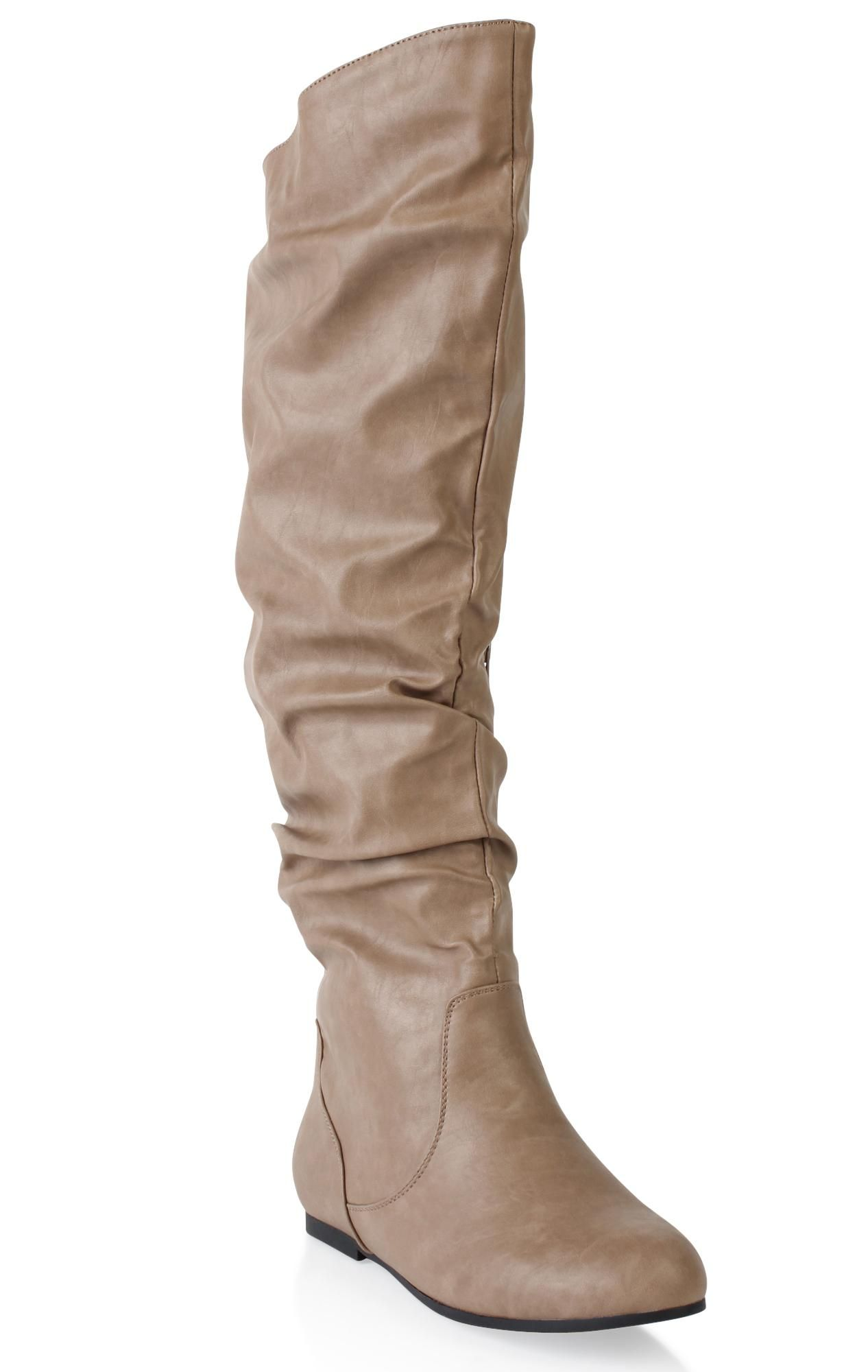 wide width boot with round toe and wide calf