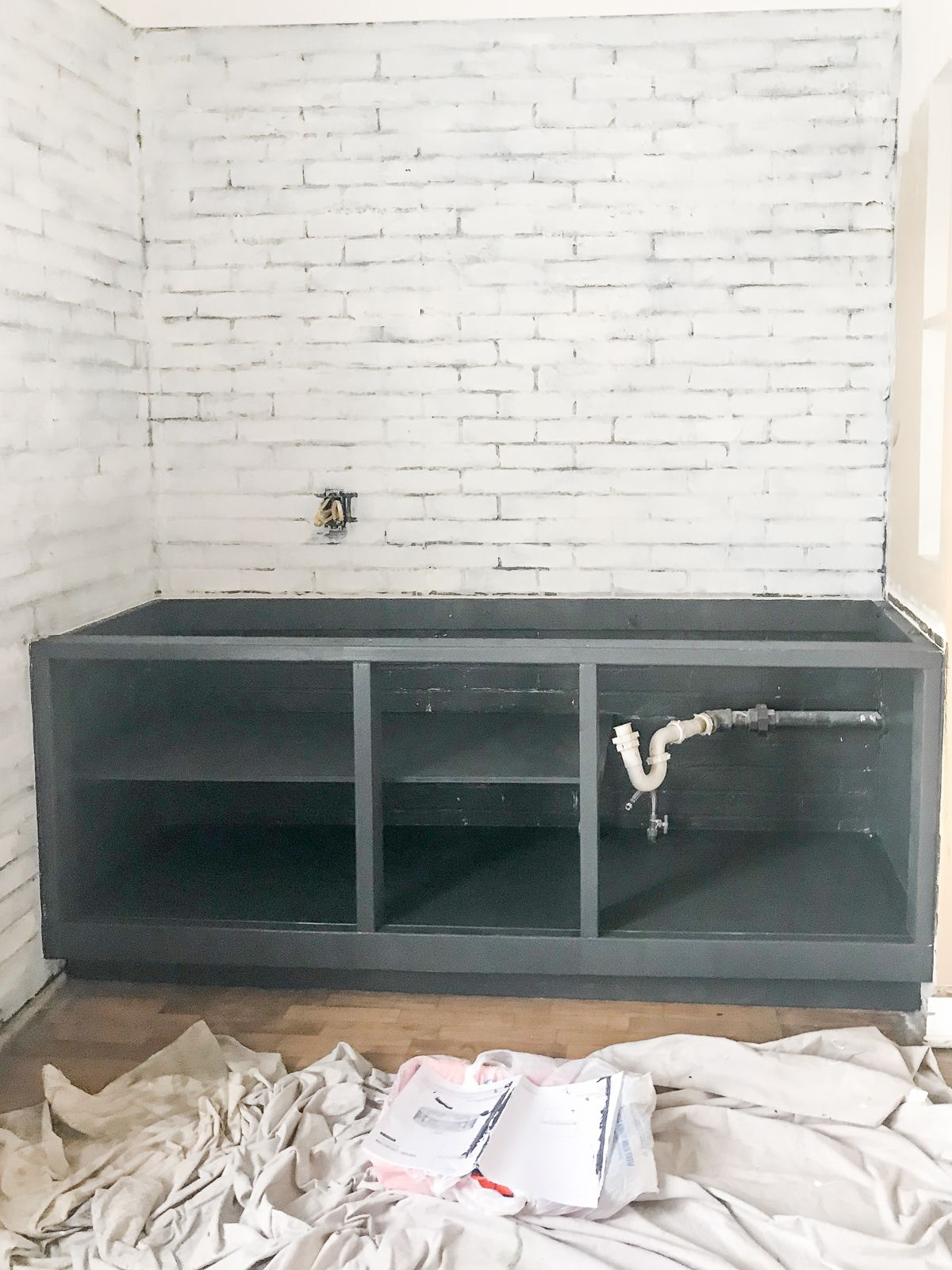 Diy 2x4 Kitchen Cabinets Tutorial Cherished Bliss In 2020 Diy Cabinet Doors Diy Faux Brick Wall Installing Kitchen Cabinets