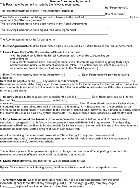 Roommate Agreement  TemplatesForms