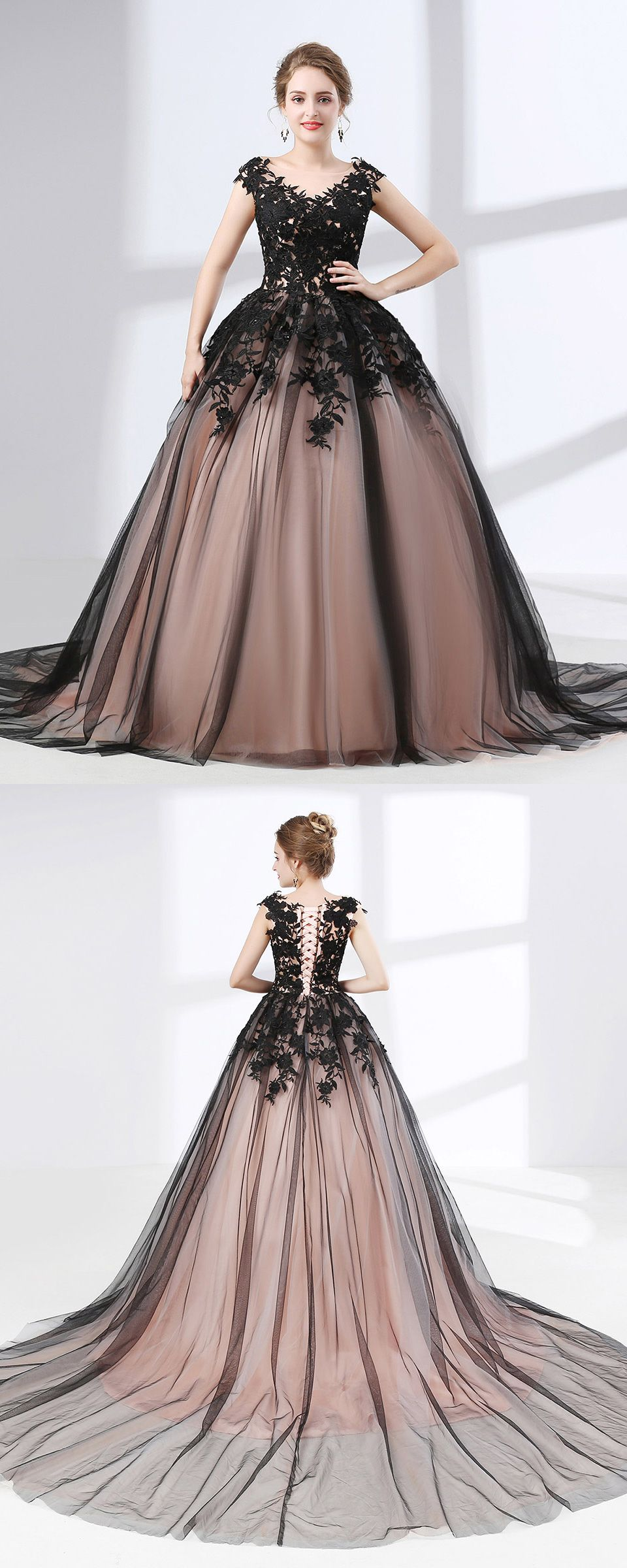 Country ball gown black quinceanera dress long train with lace