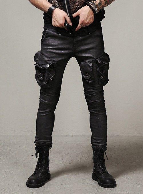 Mens Wax Coated Skinny Jeans