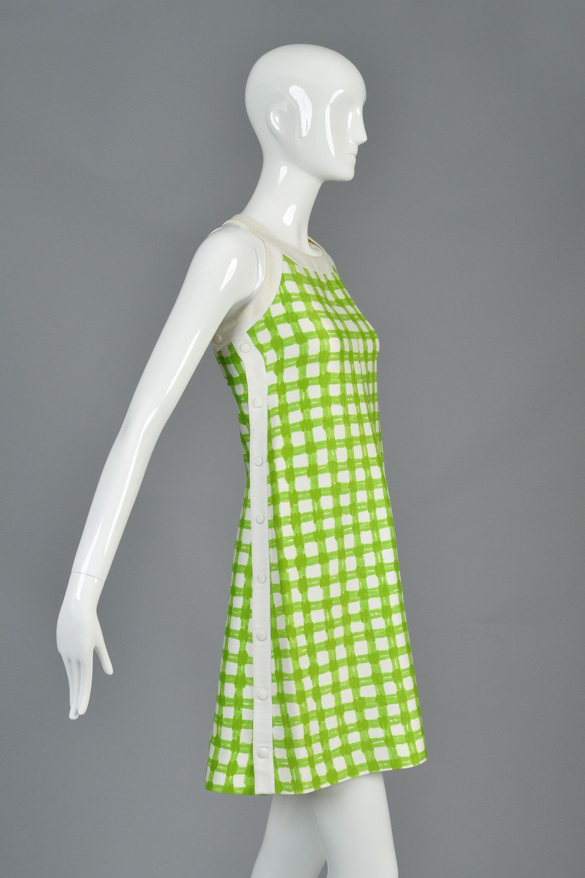 1960s Courrèges Green + White Plaid Snap-Side Dress | BUSTOWN MODERN
