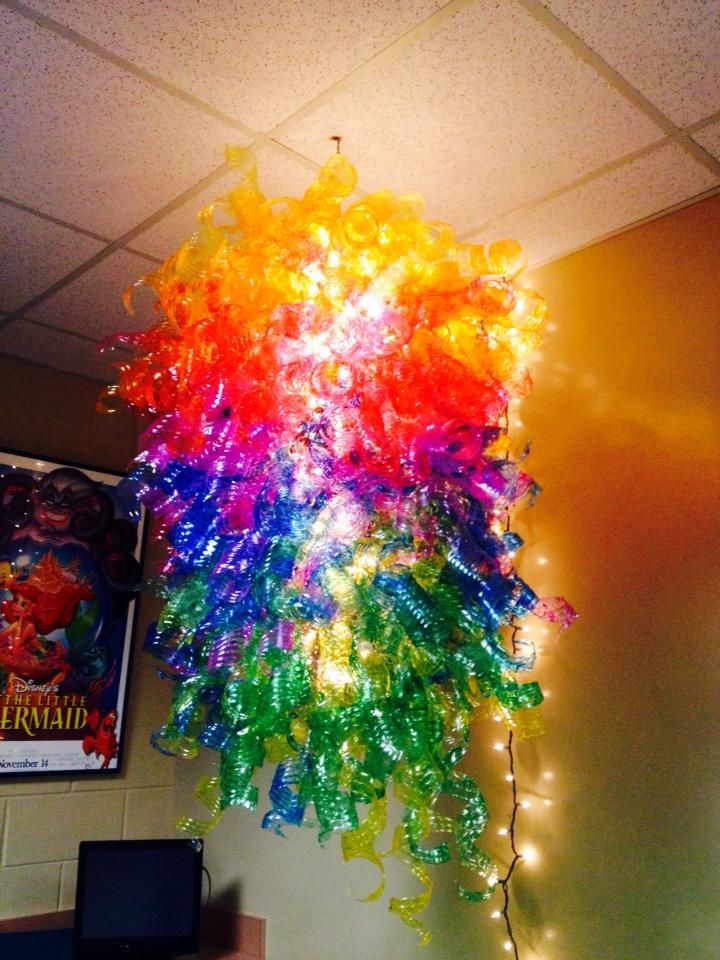 Chandelier made from water bottles. Paint with modge podge mixed ...