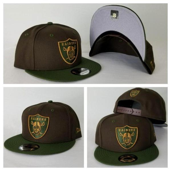 7addd2a66c7 New Era NFL Shield Oakland Raiders 9Fifty Snapback Hat Brown   Olive Green