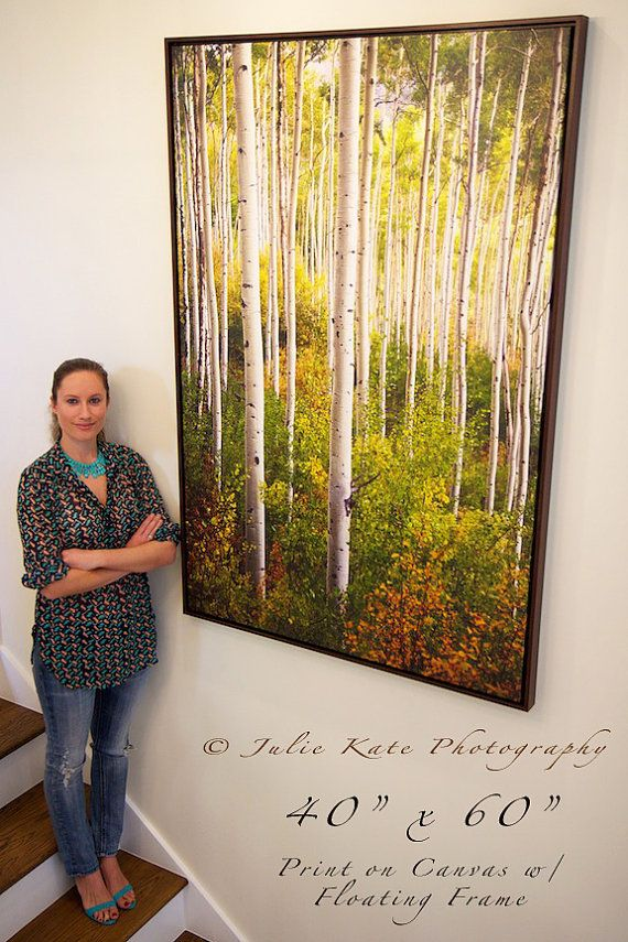 Warm Weather Aspens 20 X 30 Or 40 X 60 Print On Canvas W