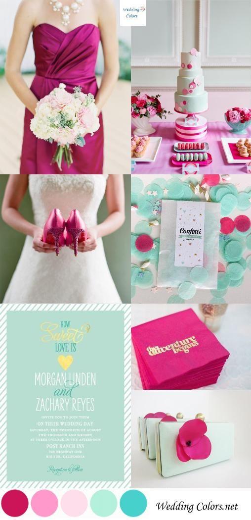 Fuchsia Mint Wedding Palette Mint Wedding Spring Wedding Colors Wedding Palette
