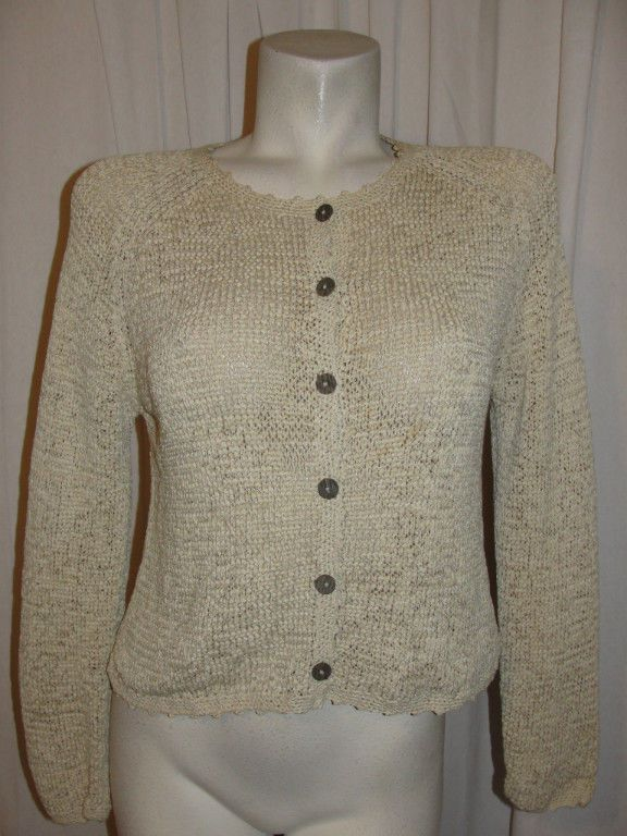 Sigrid Olsen Sport Sweater Beige Polyester Cotton Knitted LS Cardigan Size M…