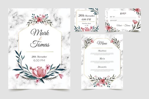 Floral Wedding Stationery Template Set Desain Undangan Perkawinan Tema Pernikahan Undangan Perkawinan