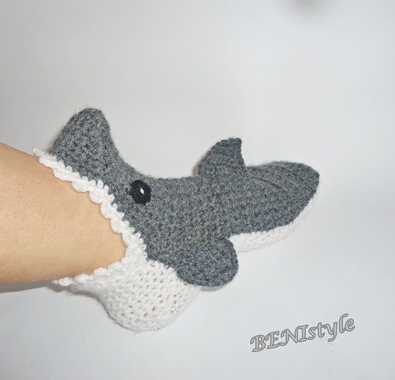 Crochet Shark Socks/Slippers, Crochet Shark Socks, Adult Shark Socks ...