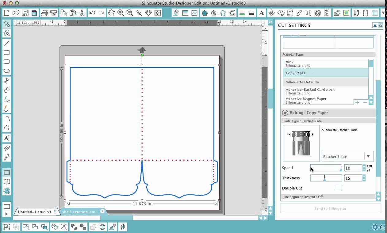 Silhouette Studio Designer Edition Version 3 Cut Settings