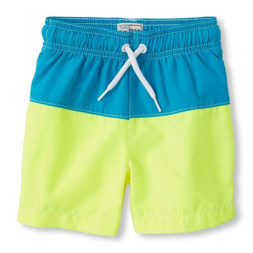 463e9a280 Baby Boys Toddler Boys Colorblock Swim Trunks - Blue - The Children s Place  Ropa De Playa