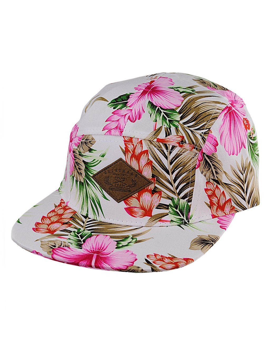 823078c6cce NYfashion101 Adjustable All Over Floral Print 5-Panel Flat Bill Cadet Cap ( Black