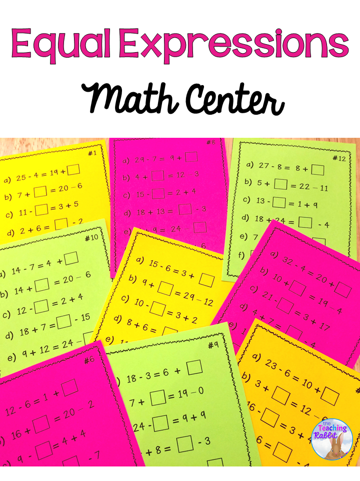 This math center can give students extra practice finding the missing numbers in equations by making both sides equal. It comes with 28 task cards, instructions, and a student recording sheet.