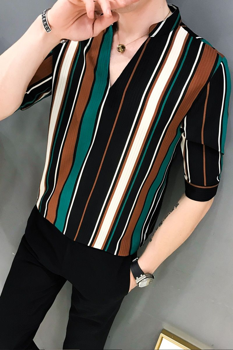 194b97fbc9b8 New Korean Version Vertical Stripes Five Thin Leisure Loose Sleeve Shirt  FI04 #shirt #shirtdesigns #stripedshirt #men #menclothing