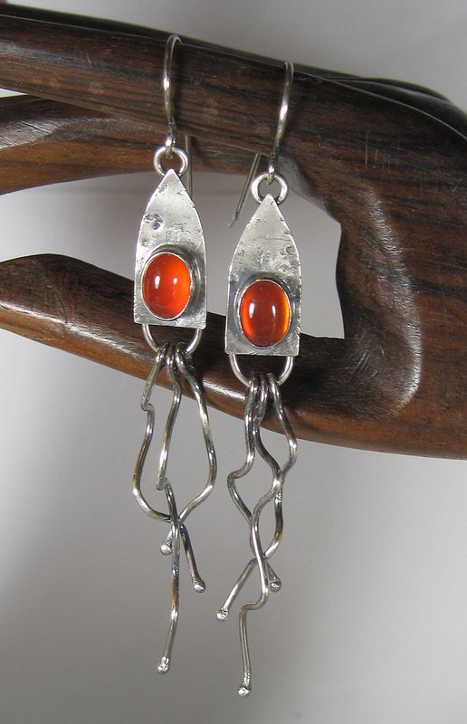 Sterling Silver and Red Agate Squiggly Earrings | Stacy Deline | Flickr