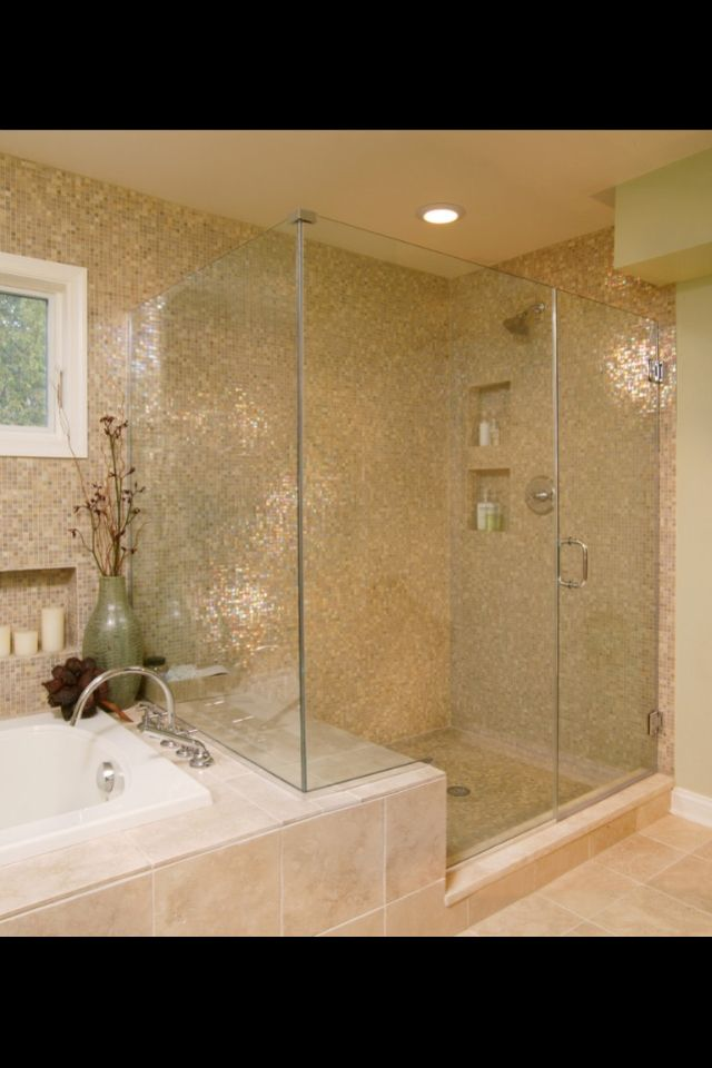 Side by side shower and tub