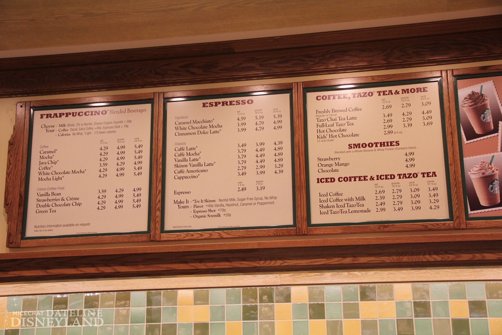 starbucks menu and price list at disney california adventure