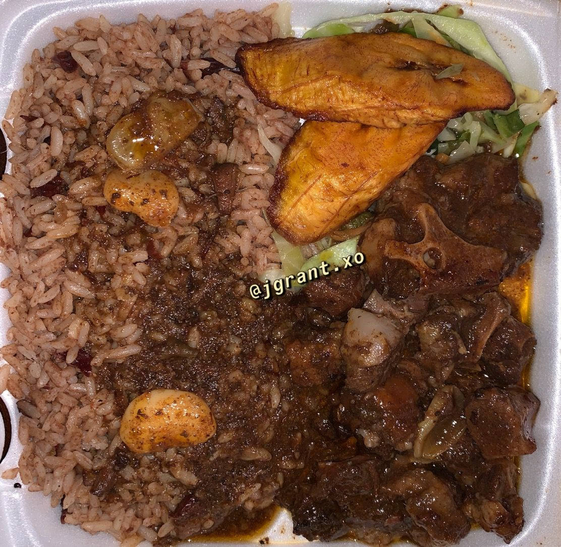oxtail with rice and peas with plantain in 2019  rice