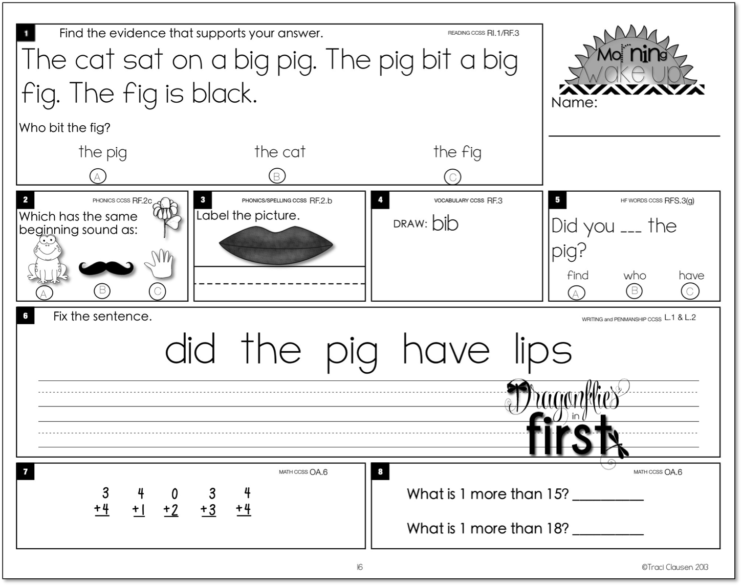 Worksheet 1st Grade Work meaningful and engaging morning work for k 2 1st the entire year builds in complexity