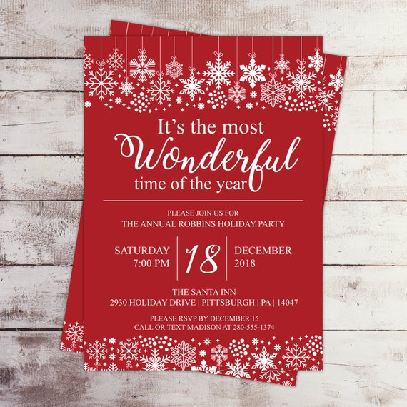 It S The Most Wonderful Time Of The Year Holiday Party Etsy Holiday Party Invitations Snowflake Invitations Christmas Party Invitations