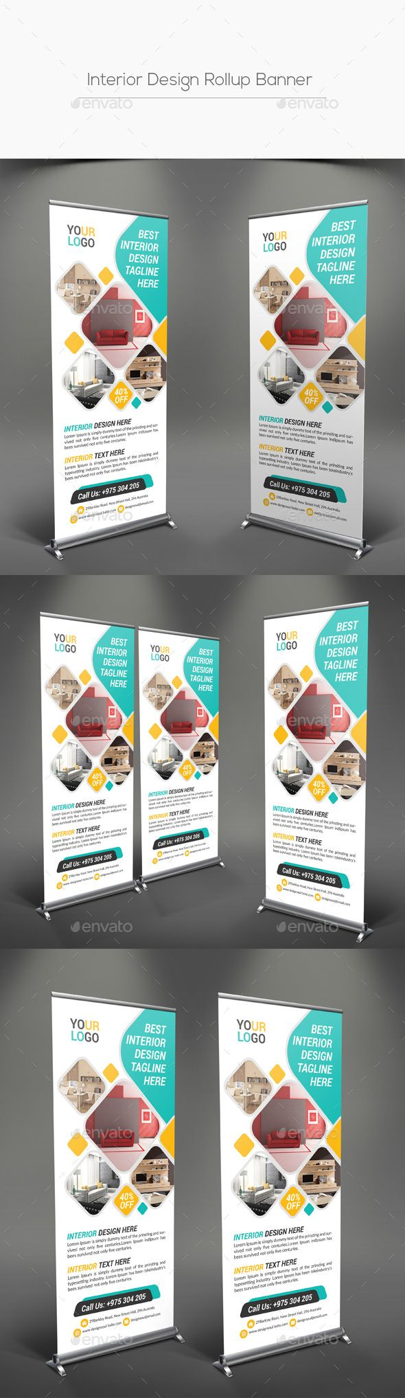 Interior Design Rollup Banner With Images Standing Banner