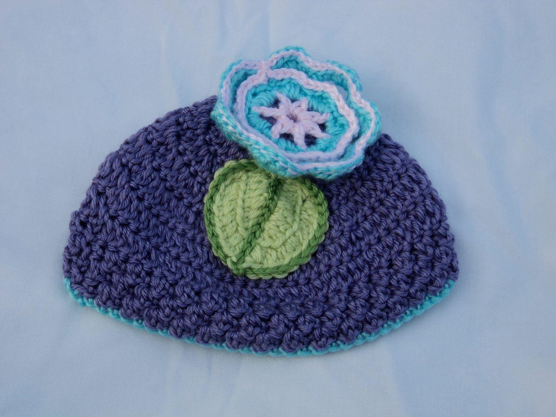 Purple Flower Baby Beanie