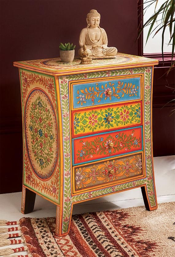 Bedside Cabinet Hand Painted Boho, Hand Painted Indian Bedside Cabinet