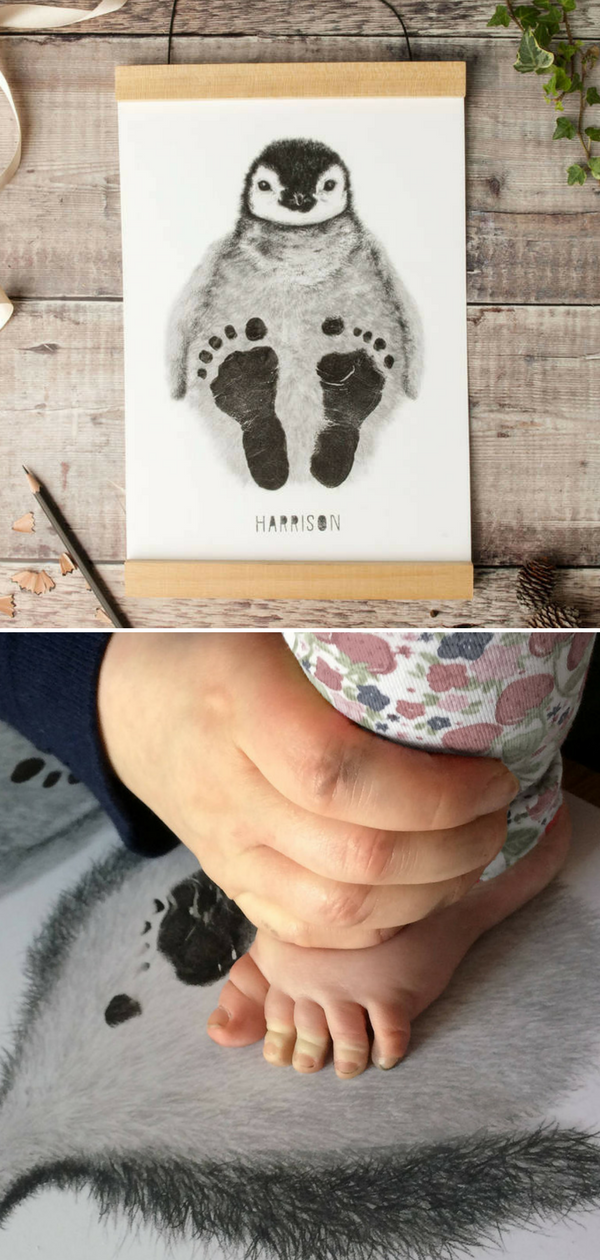 Cute personalized baby penguin footprint kit for nursery decor. I love this idea. It's so adorable! It is a great way to make memories with your children. The perfect gift idea for a new baby, birthday, naming ceremony or Christening of a baby boy or girl. #ad #penguin #nurserydecor #kit #giftidea #diy #wallart #baby #footprint #babynamesboy
