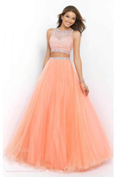 A-line Tulle Jewel Royal Blue Prom Dress