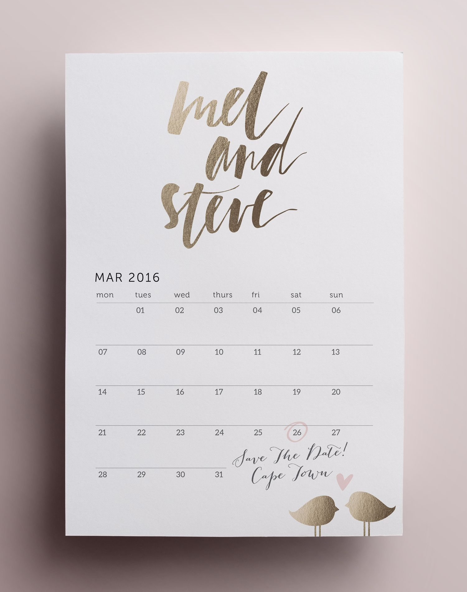 Calendar love birds save the date