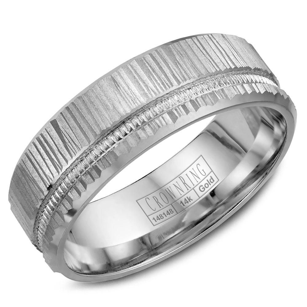 Crownring Comfort Fit Wedding Band Wb 7924 In 2020 Mens Wedding Rings Gold 14k White Gold Wedding Band Carved Wedding Ring