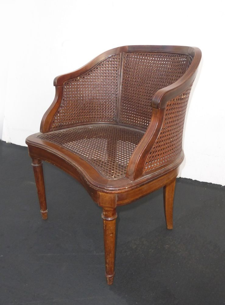 Vintage French Provincial Double Cane Back Arm Chair With