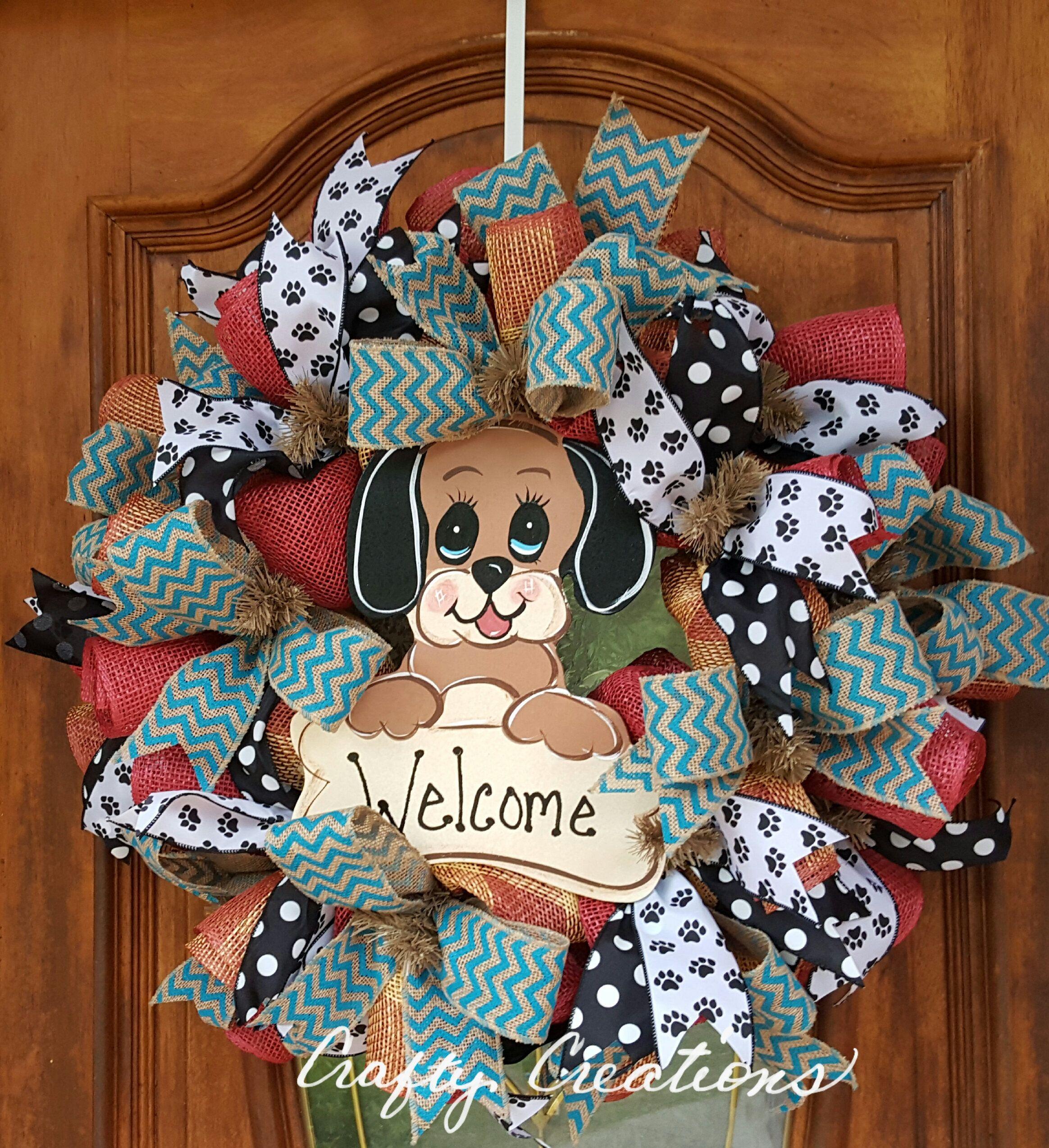 Puppy love welcome wreath everyday wreath dog lovers wreath puppy love welcome wreath everyday wreath dog lovers wreath doggie decor front door decor rubansaba
