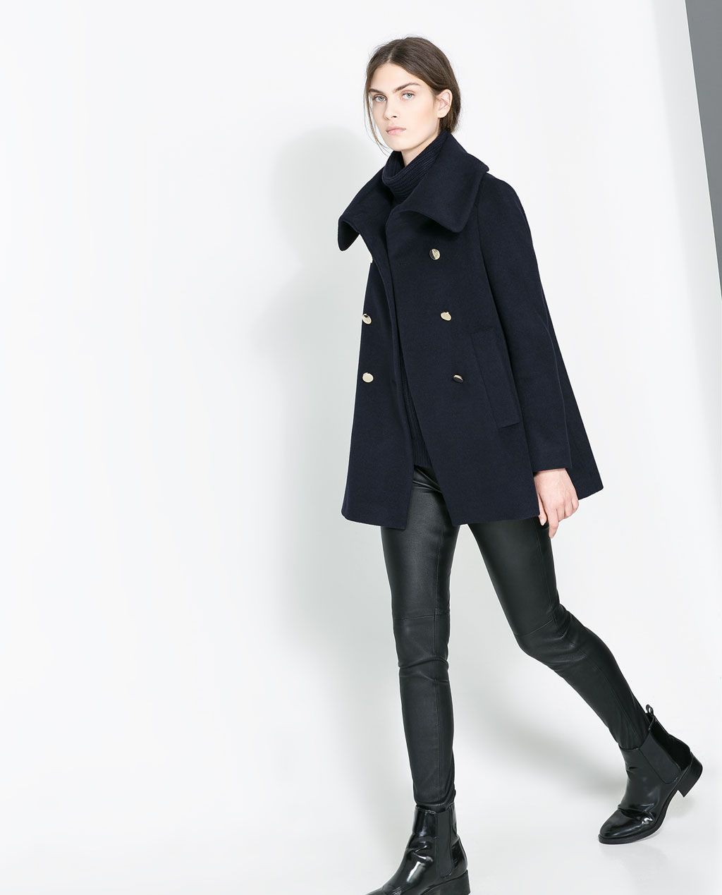 ZARA - NEW THIS WEEK - FUNNEL COLLAR COAT $139.00