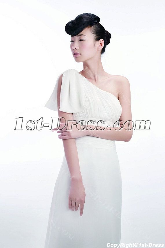 Romantic One Shoulder Chiffon Beach Boho Wedding by 1stdress2014
