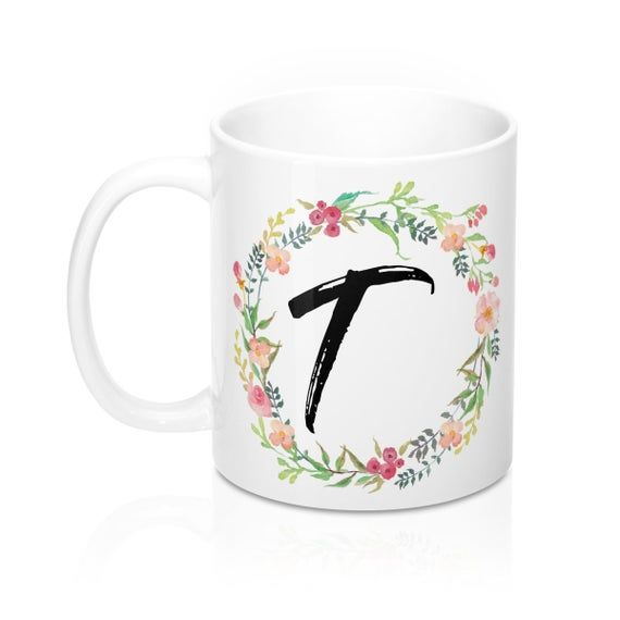 Monogram Letter T Watercolor Wreath Coffee Mug 11Oz Mugs With Initials On Them Cute Monogram Mugs Cu #custommugs