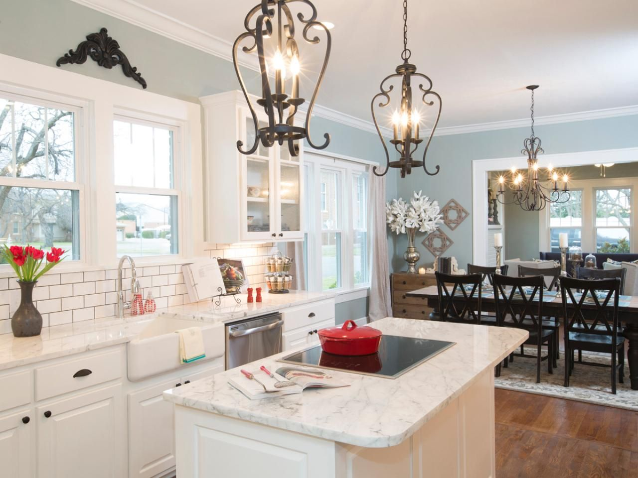 Hgtv fixer upper white kitchens - Lights