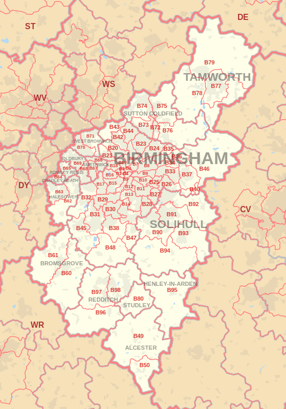 B postcode area map, showing postcode districts, post