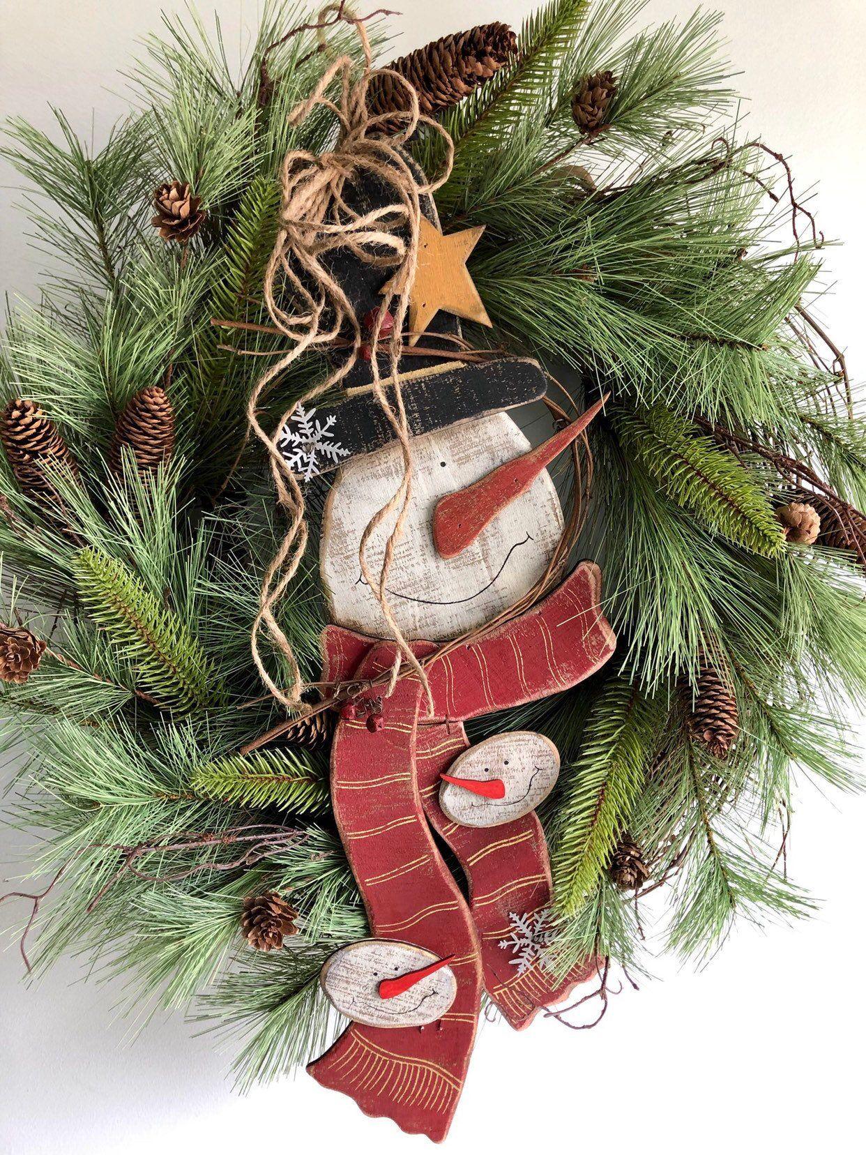 Primitive Snowman Wreath Primitive Christmas Wreath Farmhouse Christmas Wreath Rustic Christmas Wreath Vintage Christmas Wreath Gift Christmas Wreaths Rustic Christmas Primitive Christmas