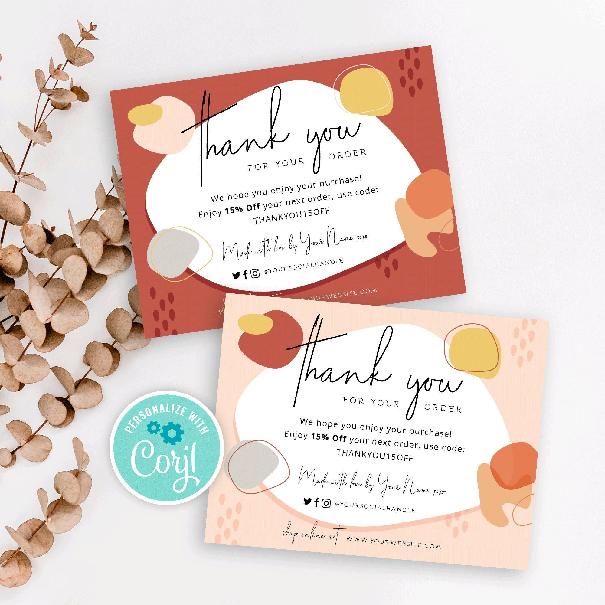 Thank You For Order Template Business Editable Thank You Card Etsy Thank You Card Design Business Thank You Cards Thank You Card Template