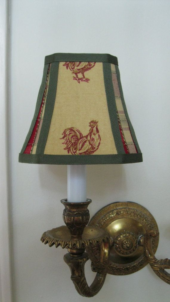 French Country Chandelier Lamp Shade In Mustard Yellow Rooster Fabric Trimmed A Coordinating Plaid And Green Trim