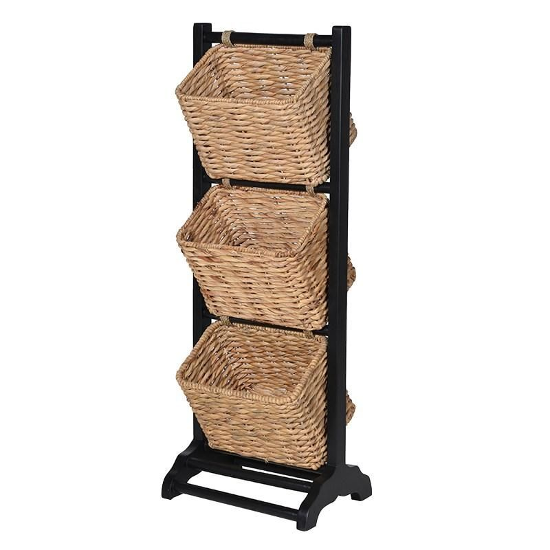 3 Tier Wicker Basket Magazine Rack