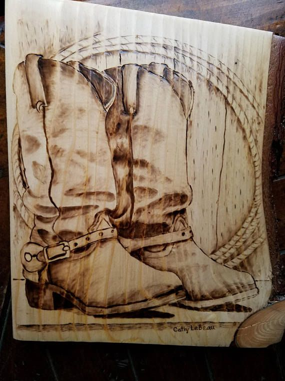 Cowboy Boots Rope Wood Pyrography Art Wood Burning Wall Wood Burning Stencils Wood Burning Art Woodburning Projects