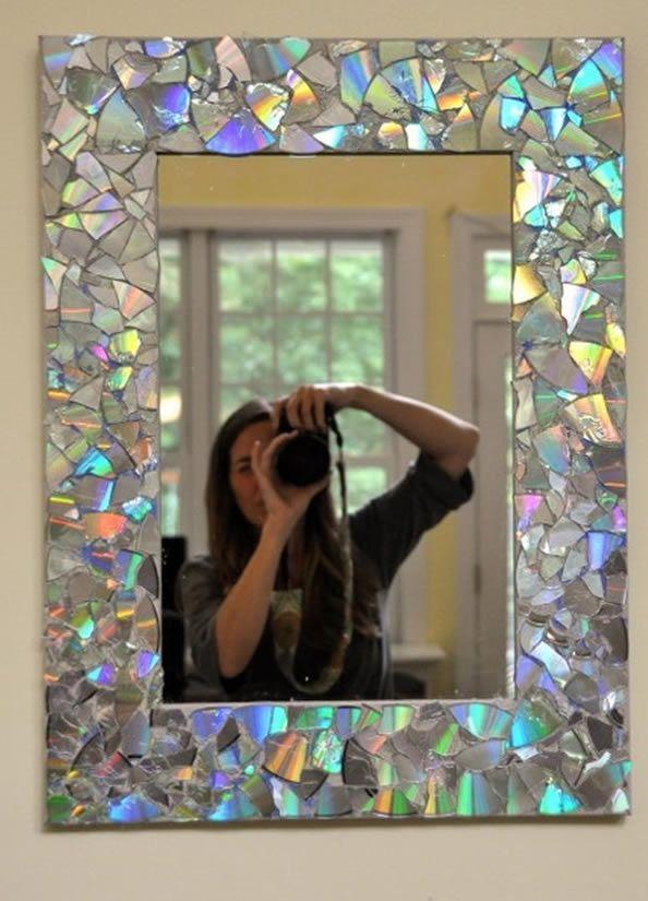 Mosaico de cd\'s en marco de espejo | fotografía artística ...