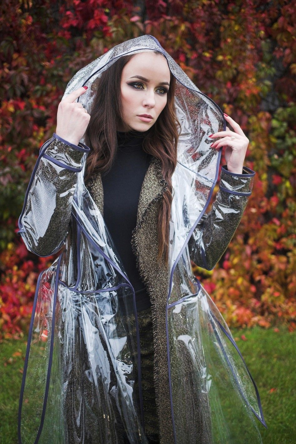 5701aa9c809 Transparent raincoat for women. Deep purple eco-leather edging. Magic!  Plastic! Fashion! © LOVERAIN by Nadia Kirpa LOVEcoat for rainy day!