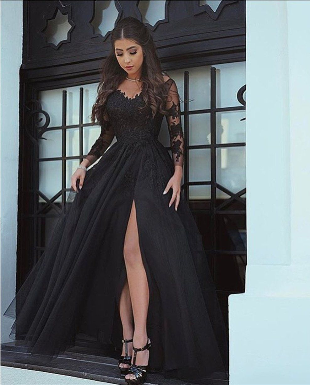 Long sleeves v neck black formal dresses lace appliques prom gowns